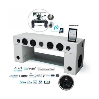 Soundvision Soundstand100 Meuble Tv Hifi Bluetooth Blanc Meuble Tv