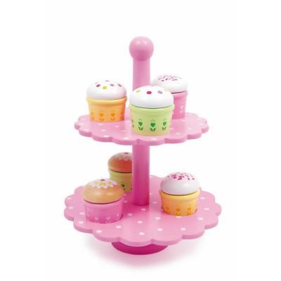 Présentoir à patisserie rose avec 6 gâteau Denis