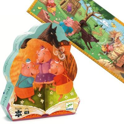 Puzzle Djeco silhouette livre histoires Les 3 petits cochons 24 pcs 3 ans +