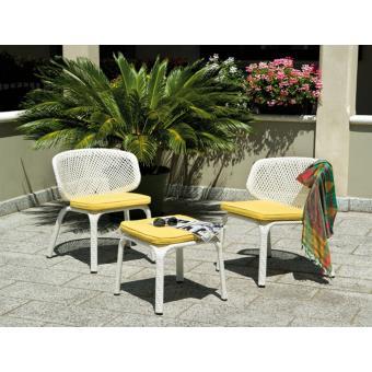 Salon jardin de 2 fauteuils + table avec coussins jaunes amovibles ...