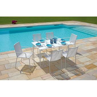 Ensemble de jardin table rectangulaire + 6 chaises en fer ...
