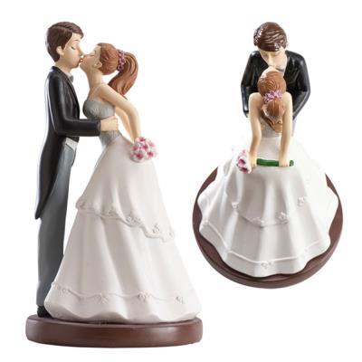 Figurine gâteau de mariage 'le baiser des mariés' - 16 cm - Dekora