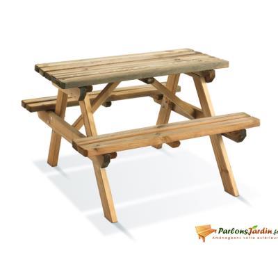 Table de pique nique en bois pour enfants Wapiti Burger