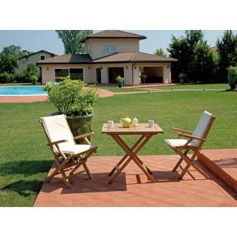 Ensemble de jardin table pliante + 2 chaises en bois teck - 80 x 80 ...