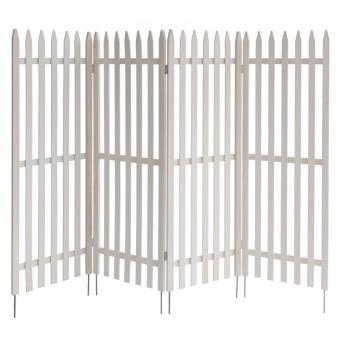Clôture de jardin séparation brise vue en bois blanc 120x160cm ...