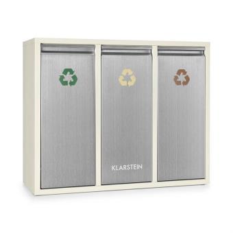 Klarstein Poubelle écologique Triple Pour Tri Sélectif U0026 Recyclage En  Cuisine Ou Au Bureau   45L Au Total (3x 15L) Beige   Achat U0026 Prix | Fnac