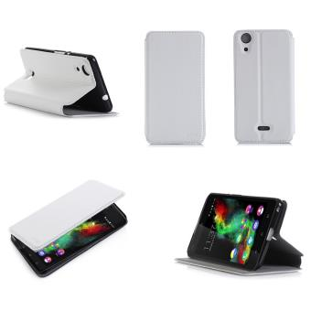 Etui Wiko Rainbow UP 4g blanc luxe Ultra Slim Cuir Style avec stand - Housse Folio Flip Cover coque de protection smartphone Wiko Rainbow UP 4G ...