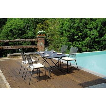 Ensemble de jardin table rectangulaire 120 x 80 cm + 4 ...