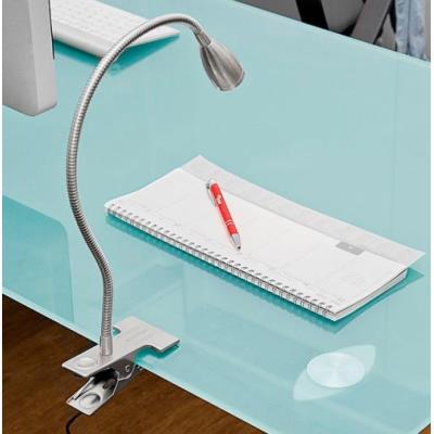 Lampe à pince avec col de cygne et LED 3 W intégrée