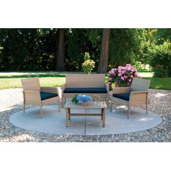 Salon jardin de canapé + 2 fauteuils + 1 table couleur ...