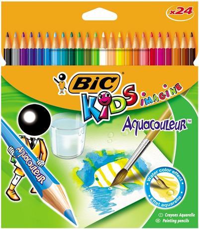 Populaire Crayon de couleur Bic Aquacouleur mine aquarelle - Etui de 24  QY17