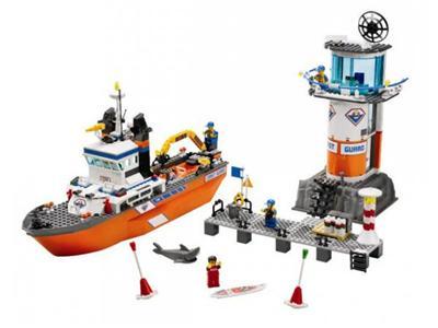 LEGO - Le bateau et la tour de contrôle des garde-côtes