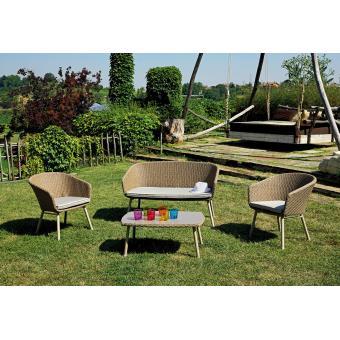 Ensemble jardin de 2 fauteuils + canapé en alu/tressage blé ...