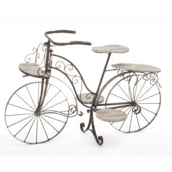 Vélo porte plantes - Fer forgé - 5 plateaux en bois - Meuble ...