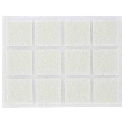 PVM - Patin feutre blanc adhésif 22 x 22 mm - Lot de 12