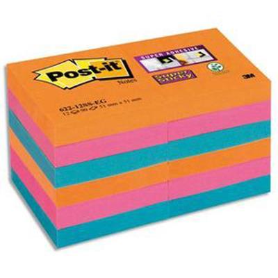 Lot 12 blocs repositionnables STICKY Bangkok 47,6x47,6mm, orange néon/fuchsia/bleu méditerranée