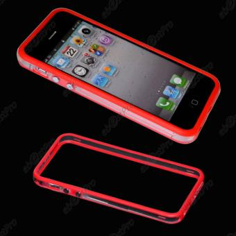 ebestStar pour Apple iPhone 5S 5 Houe Etui Coque Bumper de protection Couleur Transparent Bord Rouge