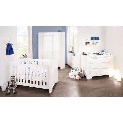 PINOLINO Lit bébé évolutif et commode à langer Sky – blanc brillant