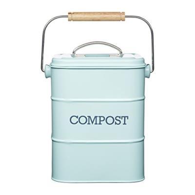 Kitchen craft living nostalgia 3 l acier poubelle à compost bleu vintage