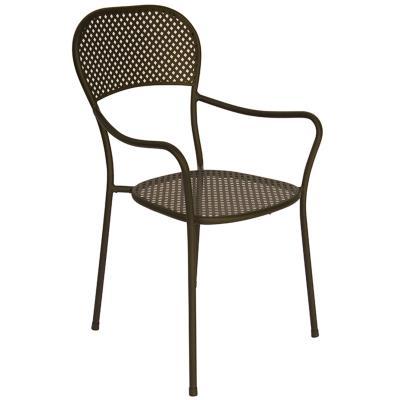 Chaise de jardin en fer forgé coloris gris anthracite - Dim : H 89 x 57 x P 54 cm -PEGANE-