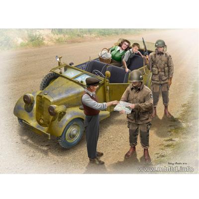 Maquette voiture + 5 figurines : l'auto-stop : parachutistes us et civils français master box