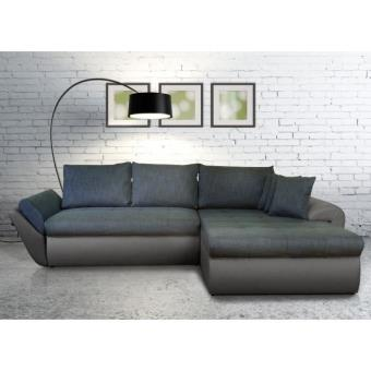 lolita canap d 39 angle xxl convertible gris et bleu achat prix fnac. Black Bedroom Furniture Sets. Home Design Ideas