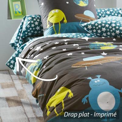 Drap plat 180x290 cm 100% coton MONSTERS