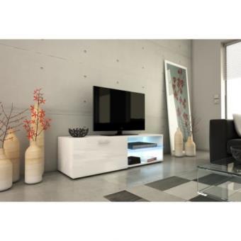 KORA Meuble TV 120cm avec éclairage LED Blanc brillant Achat