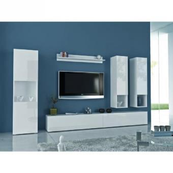 quest meuble tv mural 300cm laqu blanc comprenant 6 l ments meuble tv achat prix fnac. Black Bedroom Furniture Sets. Home Design Ideas