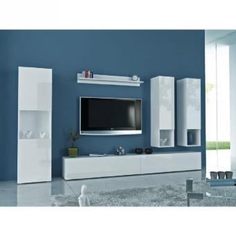 quest meuble tv mural 300cm laqu blanc comprenant 6 l ments meuble tv achat prix fnac. Black Bedroom Furniture Sets. Home Design Ideas