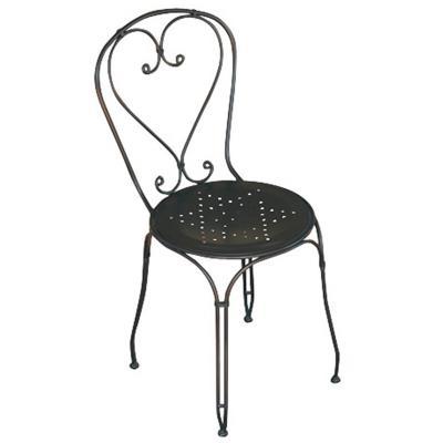 Chaise de jardin en fer forgé noir - Dim : H 89 x 57 x P 54 cm -PEGANE-