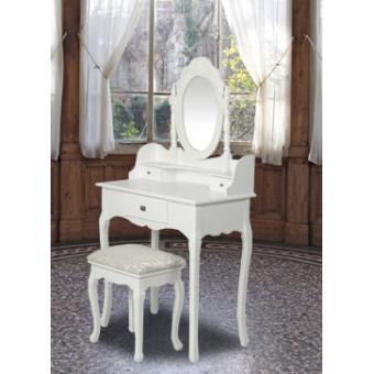 Coiffeuse blanche à 3 tiroirs avec tabouret et miroir - Achat & prix ...