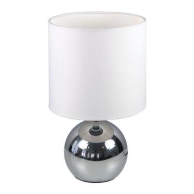 Ranex - 6000.197 - lampe touch 3 intensités - chrome - abat-jour tissu blanc