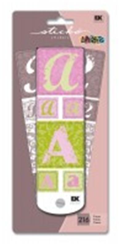Sticko Alphabets - Swatch Book 216 lettres et chiffres autocollants-vif