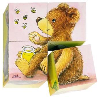 Puzzles de 4 cubes bébés animaux Jeu jouet en bois Enfant 2 ans +. - Puzzle enfant - Achat ...