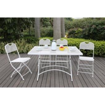 Finlandek Ensemble Table De Jardin 120 4 Chaises Blanc Hieno