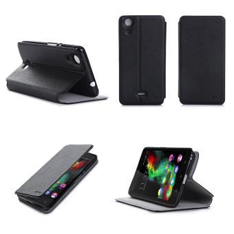 Etui Wiko Pulp FAB 4G/LTE noir luxe Ultra Slim Cuir Style avec stand - Housse Folio Flip Cover coque de protection smartphone Wiko Pulp FAB 4G noir - ...