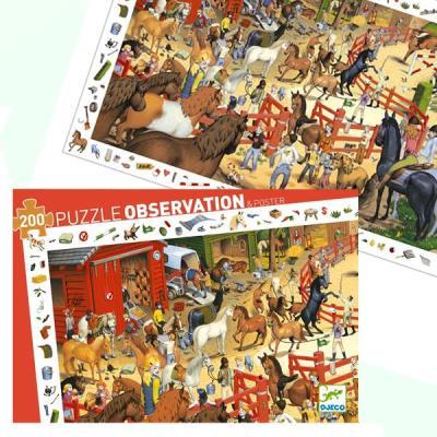 Puzzle Djeco Observation Centre equestre 200 pcs Enfants 6 ans +