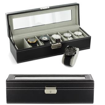 boite coffret de rangement montres pour 6 montres simili cuir avec cl bo tes montre. Black Bedroom Furniture Sets. Home Design Ideas