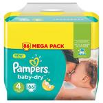 Pampers - baby dry - couches taille4 (8-16kg/maxi) - mega pack (x86couches)