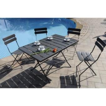 FINLANDEK Ensemble table de jardin 120 + 4 chaises gris - HIENO ...