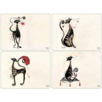 4 Sets de table rectangulaires rigides Catitudes - Pimpernel - Achat ...