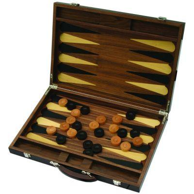 Backgammon luxe bois grand à encoches (45 x 30,5 cm plié)