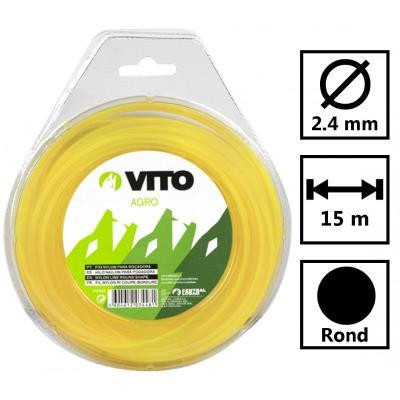 Fil nylon rond pour débroussailleuse - longueur 15m - diamètre 2.4mm