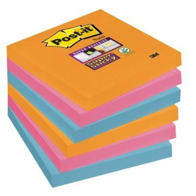 Post-it 654-6ss-eg lot de 6 blocs de notes 90 feuilles 76 x 76 mm couleurs pétillantes 6546se