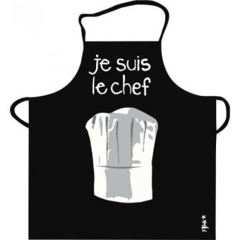 Tablier de cuisine noir je suis le chef pvc incidence for Tabliers de cuisine