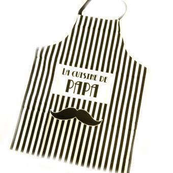 Tablier De Cuisine La Cuisine De Papa Moustache Noir Achat