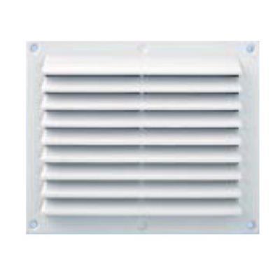 Grille ventilation anti-pluie rectangulaire - blanc - avec moustiquaire