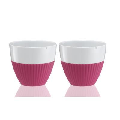 Set 2 tasses à thé porcelaine et silicone fushia 9101151 - Viva scandinavia