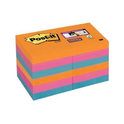 Post-it 622-12ss-eg lot de 12 blocs de notes 90 feuilles 51 x 51 mm couleurs pétillantes 62212se